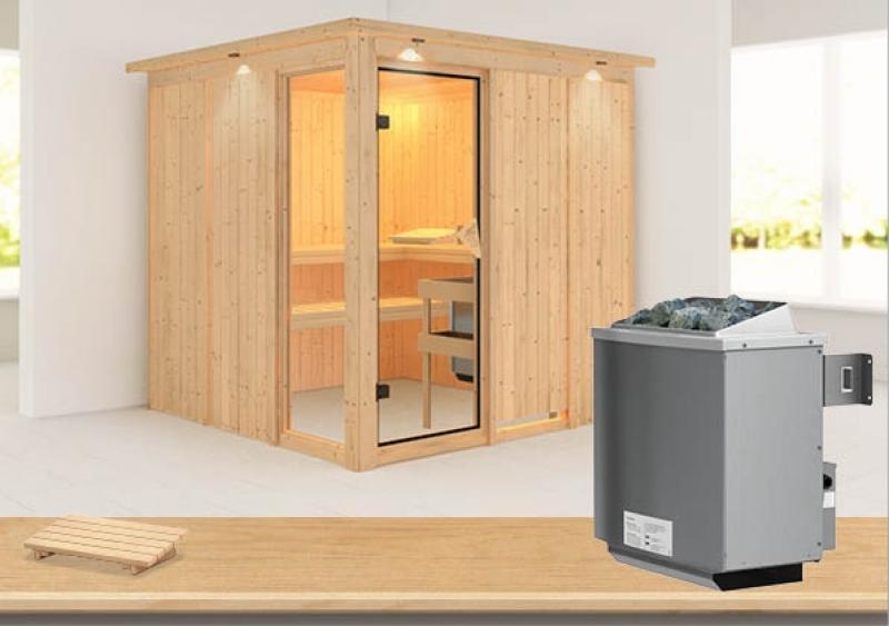Karibu System Sauna Helin (Fronteinstieg) 68 mm mit Dachkranz inkl. Ofen 9 kW mit integr. Steuerung
