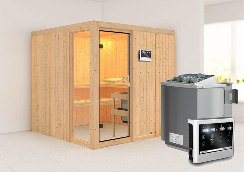 Karibu Heimsauna Helin (Fronteinstieg) Ofen 9 kW Bio externe Strg easy Kein Kranz 68 mm Systemsauna
