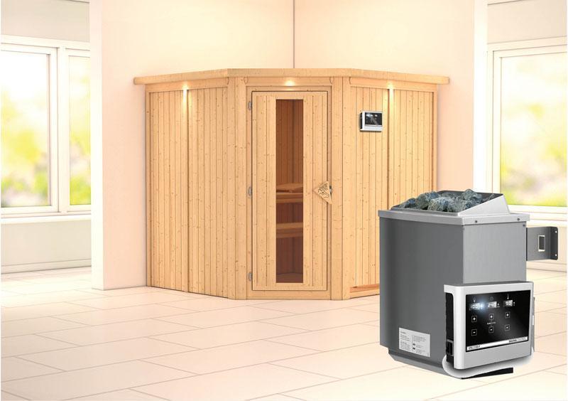 Karibu System Sauna Jarin Energiespartür (Eckeinstieg) 68 mm mit Dachkranz inkl. Ofen 9 kW ext. Steuerung