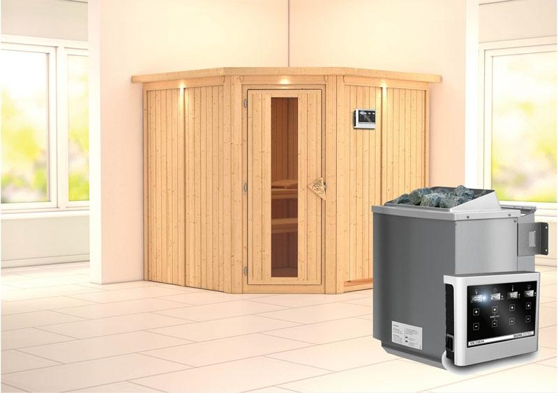 Karibu System Sauna Jarin Energiespartür (Eckeinstieg) 68 mm mit Dachkranz inkl. Ofen 9 kW Bio-Kombi ext. Steuerung