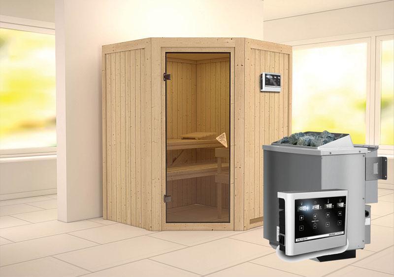 Karibu Heimsauna Larin (Eckeinstieg) Ofen 9 kW Bio externe Strg easy Kein Kranz 68 mm Systemsauna