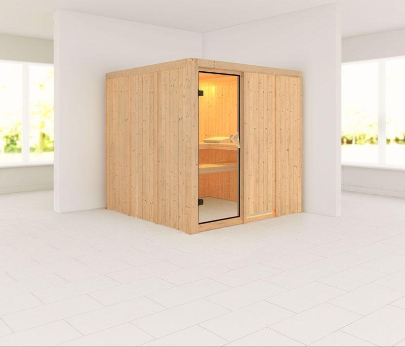 Karibu System Sauna Rodin Satiniert (Fronteinstieg) 68 mm ohne Zubehör