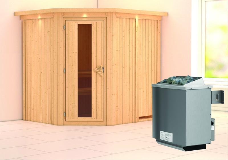 Karibu System Sauna Siirin Energiespartür (Eckeinstieg) 68 mm mit Dachkranz inkl. Ofen 9 kW integr. Steuerung