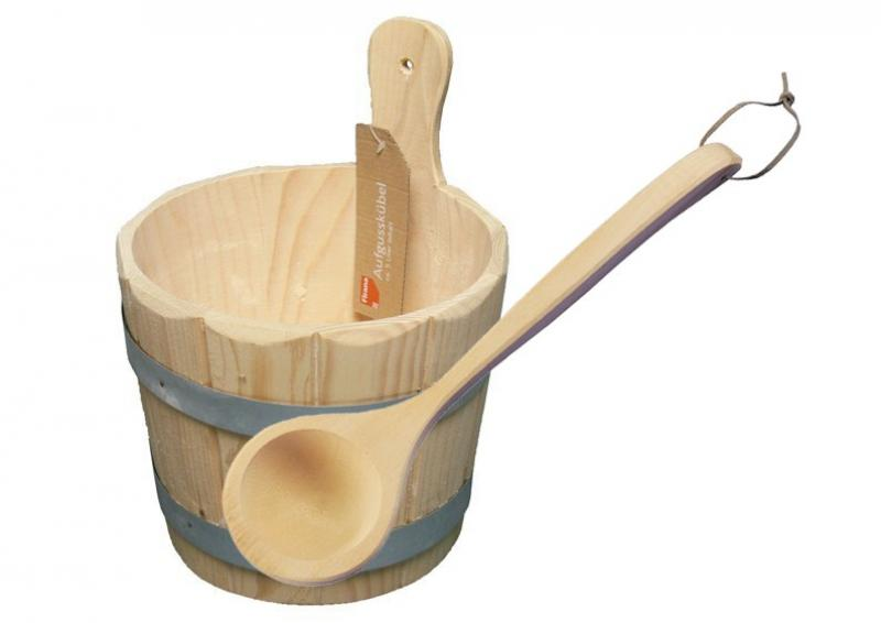 Sauna Kübel für Aufguss 5 Liter inkl. Holzkelle - Holzkübel - Saunabottich inkl. Kunststoffeinsatz