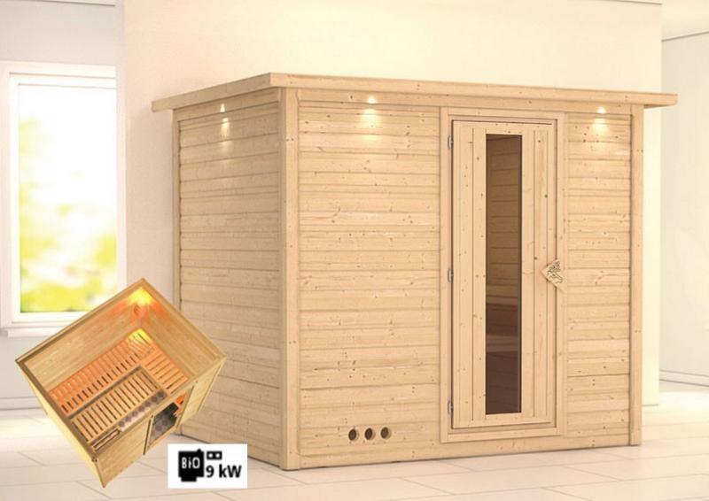 karibu massiv sauna sonara energiespart r fronteinstieg 40 mm mit dachkranz inkl ofen 9 kw. Black Bedroom Furniture Sets. Home Design Ideas