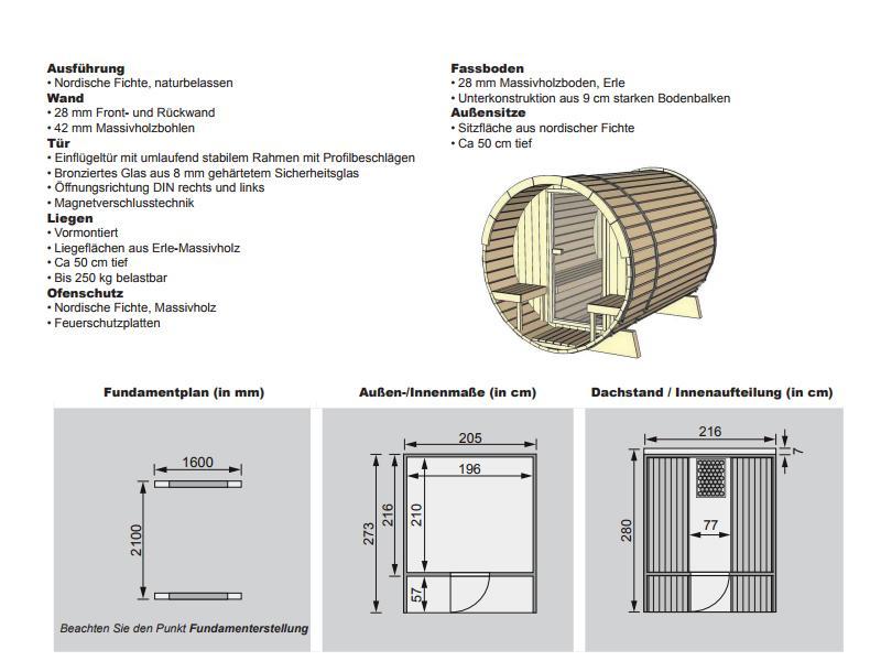 Aktion: Karibu Fasssauna 2 - 205x273x216 cm - inkl. 9KW Ofen inkl. umfangreichem Zubehör