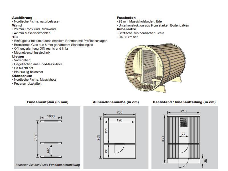 Aktion: Karibu Fasssauna 3 - 205x323x216 cm - inkl. 9KW Ofen inkl. umfangreichem Zubehör