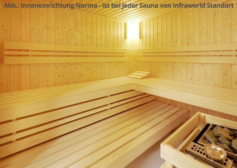 Infraworld Sauna auf Maß Optima mit Sole-Therme Zirbenholz 75 mm Elementbau von Länge 142 - 151 cm Breite 168 - 202 cm