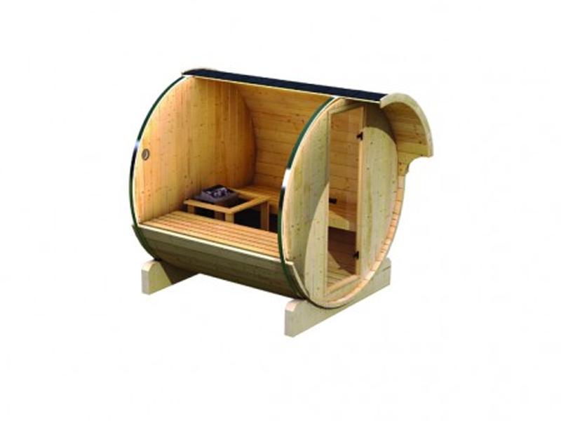 Aktion: Karibu Fasssauna 1 - 205x200x216 cm - inkl. 9KW Ofen inkl. umfangreichem Zubehör