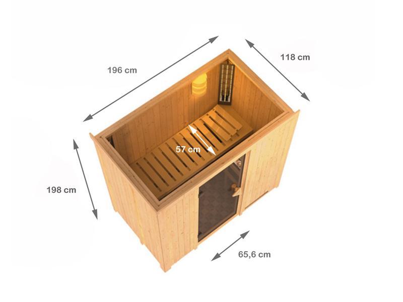 Karibu System Sauna Variado (Fronteinstieg) 68 mm ohne Dachkranz - mit satinierter Ganzglastür