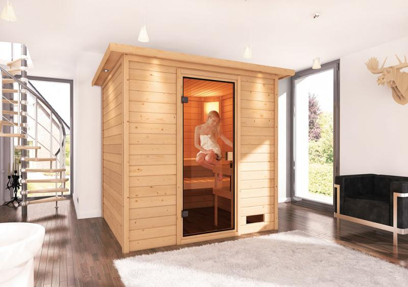 Sauna-Spar-Set: Karibu Scandic Sauna 38 mm Massiv Oslo 2 Classic (Fronteinstieg) für niedrige Räume inkl. 9 KW Finnisch-Ofen int. Strg. und Zubehör - Selbstbausatz