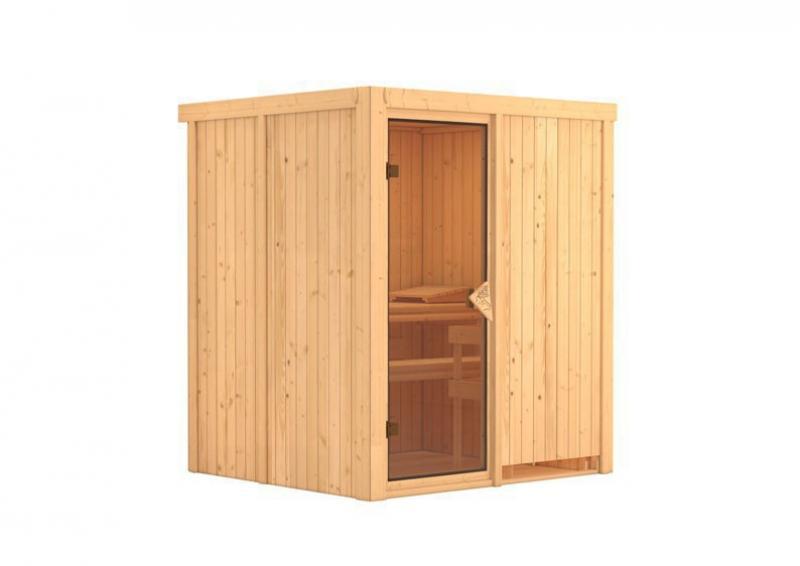 Karibu System Sauna Laurin (Fronteinstieg) 68 mm mit Dachkranz inkl. Ofen 9 kW ext. Steuerung