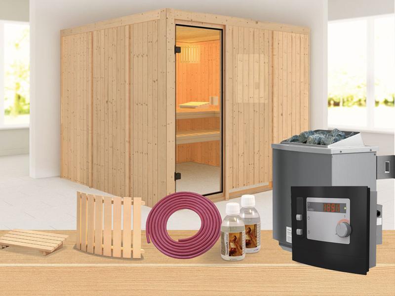Karibu Systembau Sauna Nybro Classic (Fronteinstieg)  68 mm inkl. Ofen + ext. Strg. und Zubehör
