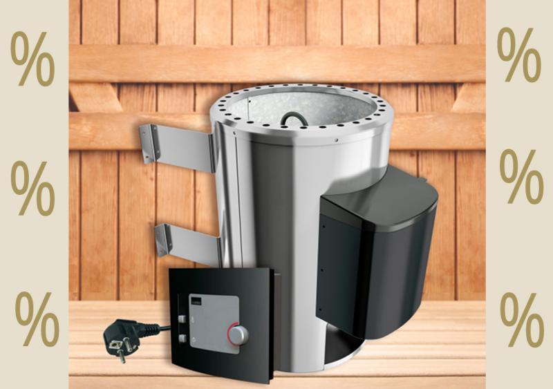 Karibu Aktions Saunaofen 3,6 kW finnisch mit moderner Außensteuerung inkl. Silikonkabel Set und Saunasteinen 18 kg