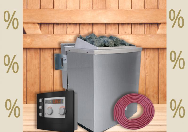Karibu Aktions Saunaofen 9 kW Bio mit moderner Außensteuerung inkl. Silikonkabel Set und Saunasteinen 18 kg