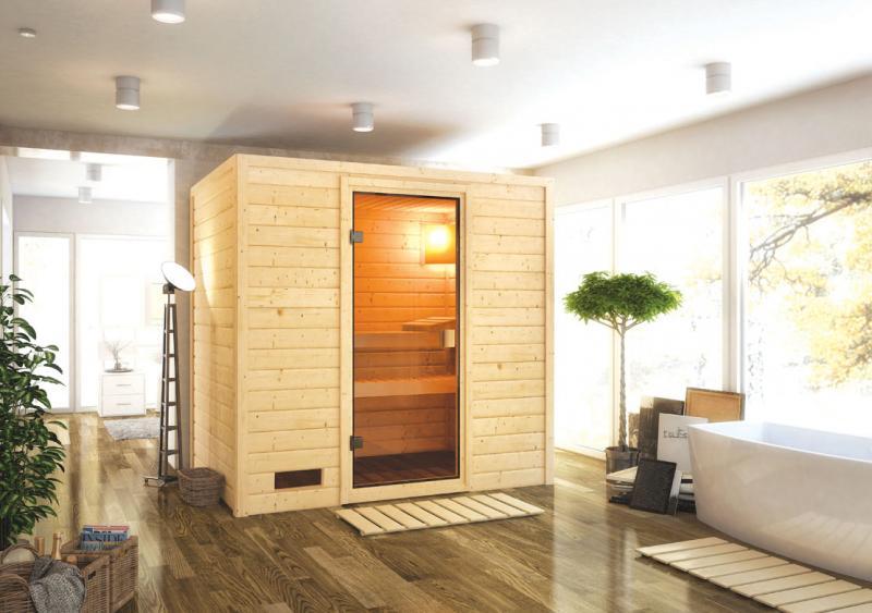 Sauna-Spar-Set: Karibu Scandic Sauna 38 mm Massiv Oslo 1 Classic (Fronteinstieg) für niedrige Räume inkl. 9 KW Finnisch-Ofen ext. Strg. und Zubehör - Selbstbausatz