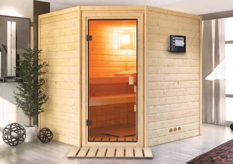 Sauna-Spar-Set: Karibu Scandic Sauna 38 mm Massiv Helsinki 3 Classic (Eckeinstieg) für niedrige Räume inkl. 3,6 KW Finnisch-Ofen int. Strg. und Zubehör - Selbstbausatz