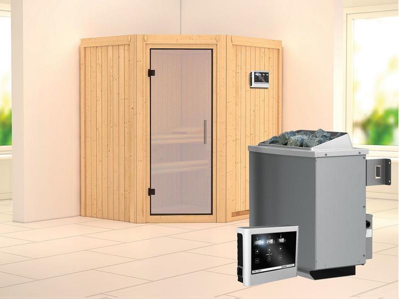 Karibu System Sauna Taurin (Eckeinstieg) 68 mm  inkl. Ofen 9 kW Bio-Kombi ext. Steuerung - mit satinierter Ganzglastür