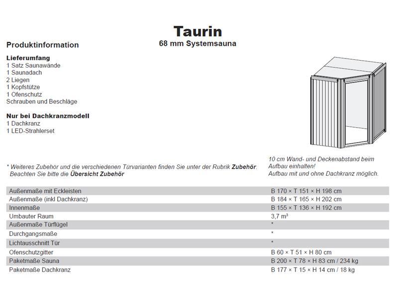 Karibu System Sauna Taurin (Eckeinstieg) 68 mm inkl. Ofen 9 kW integr. Steuerung - mit Energiespartür