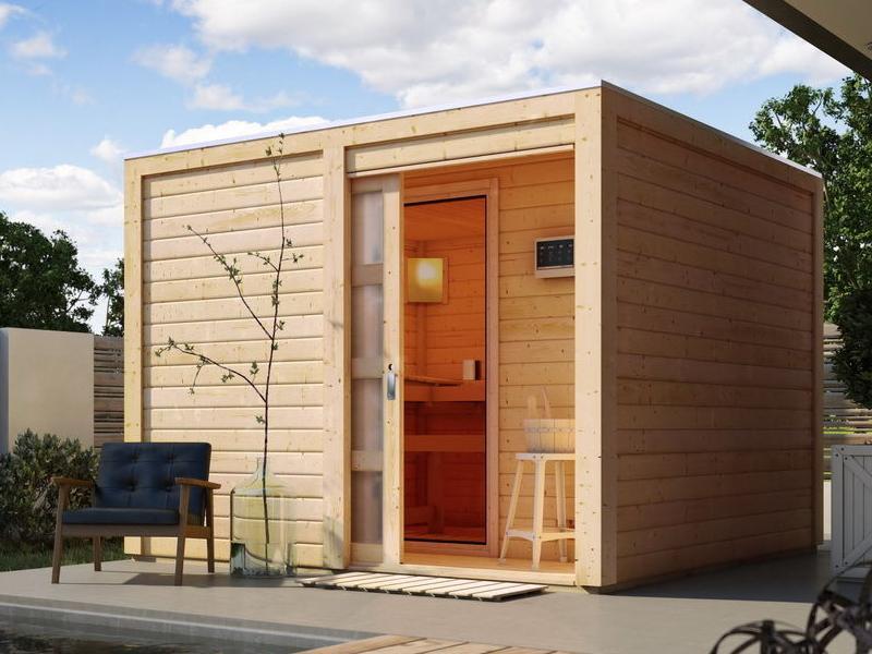 Karibu Gartensauna Flachdachhaus Cuben inkl. Vorraum und Dachbahn - naturbelassen