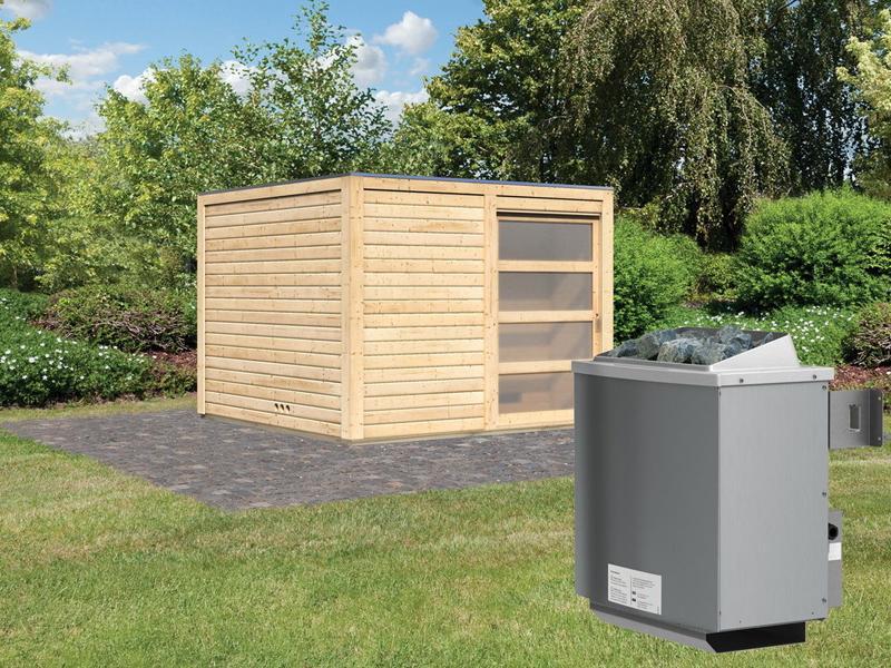 Karibu Gartensauna Flachdachhaus Cuben inkl. Vorraum und Dachbahn - naturbelassen - 9 kW Ofen int. Strg.