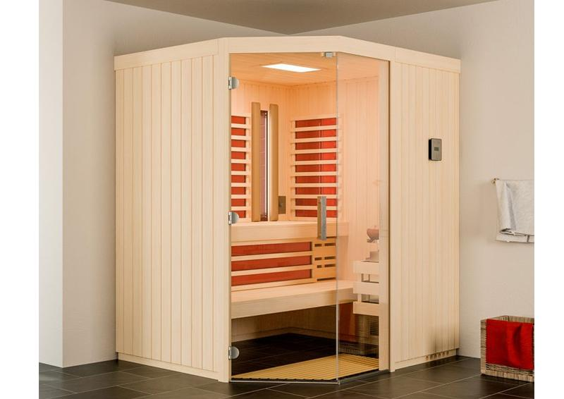 infraworld sauna auf ma optima mit sole therme espenholz 75 mm elementbau von l nge 142 151. Black Bedroom Furniture Sets. Home Design Ideas