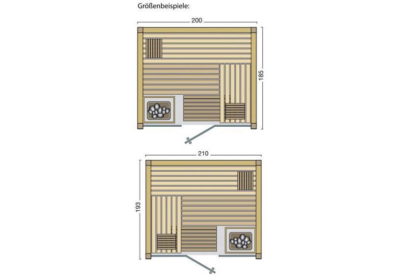 Infraworld Sauna auf Maß Opal Espenholz Elementbauweise von Länge 117 - 219 cm Breite 180 - 220 cm