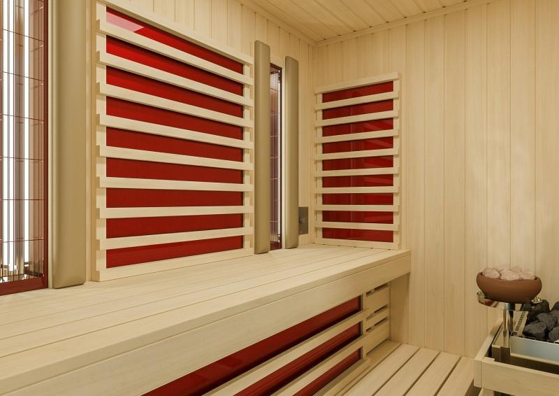 Infraworld Sauna auf Maß Optima mit Sole-Therme Hemlockholz 75 mm Elementbau von Länge 142 - 151 cm Breite 168 - 202 cm