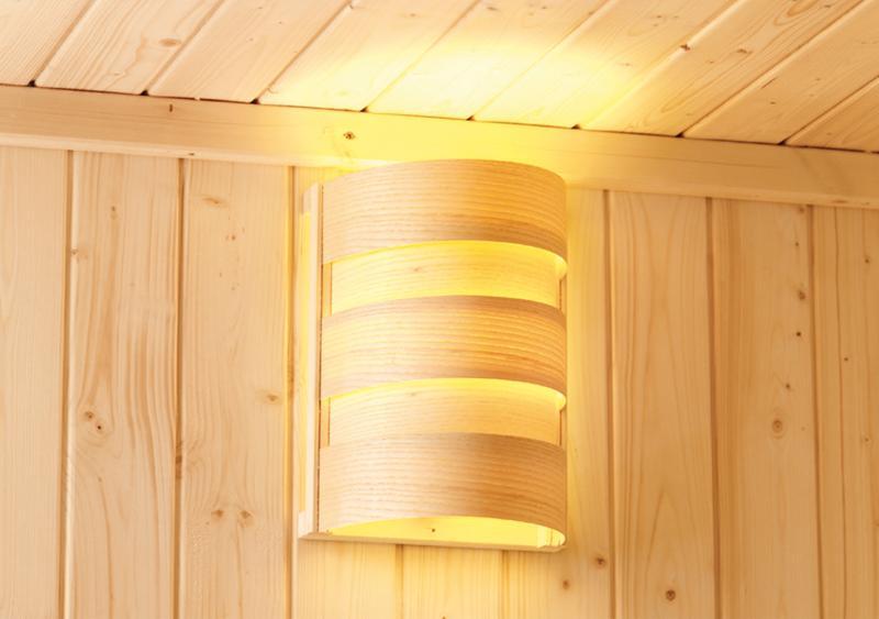 Sauna-Spar-Set: Karibu Scandic Sauna 38 mm Massiv Helsinki 1 Classic (Eckeinstieg) für niedrige Räume inkl. 3,6 KW Finnisch-Ofen ext. Strg. und Zubehör - Selbstbausatz