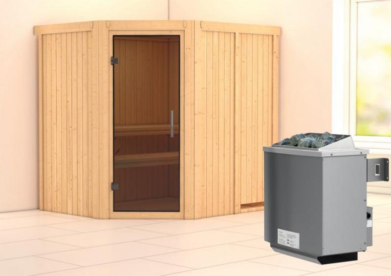 Karibu System Sauna Siirin easy (Eckeinstieg) 68 mm inkl. Ofen 9 kW integr. Steuerung