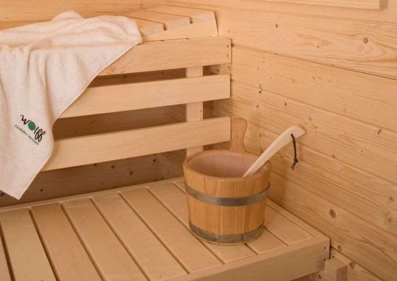 Wolff Finnhaus Gartensauna Saunahaus Melina 40 Flachdach-Sauna-Haus - 40 mm Massivholz - naturbelassen