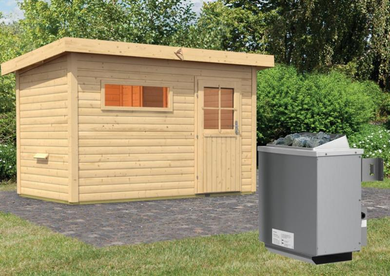 Karibu Gartensauna Pultdach Skrollan 2 mit Vorraum inkl. Ofen 9 kW mit integr. Steuerung