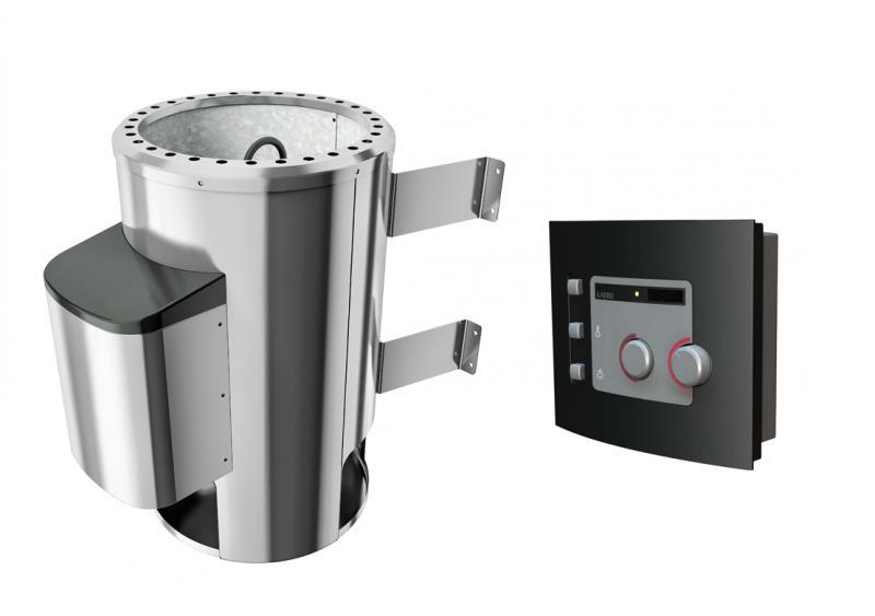 Sauna-Spar-Set: Karibu Scandic Sauna 38 mm Massiv Helsinki 3 Classic (Eckeinstieg) für niedrige Räume inkl. 3,6 KW Bio-Dampfbad-Ofen ext. Strg. und Zubehör - Selbstbausatz