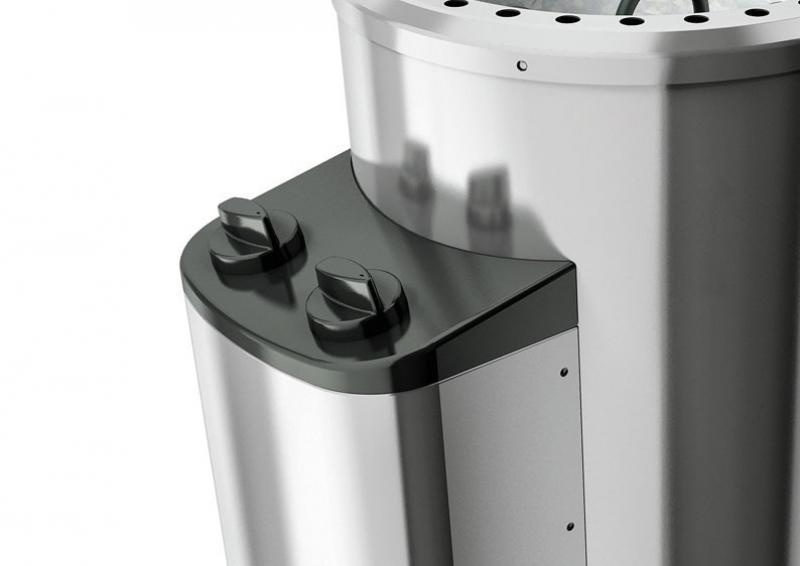 Karibu Energiesparsauna Lembin (Eckeinstieg) 68 mm System inkl. Ofen 3,6 kW integr. Steuerung