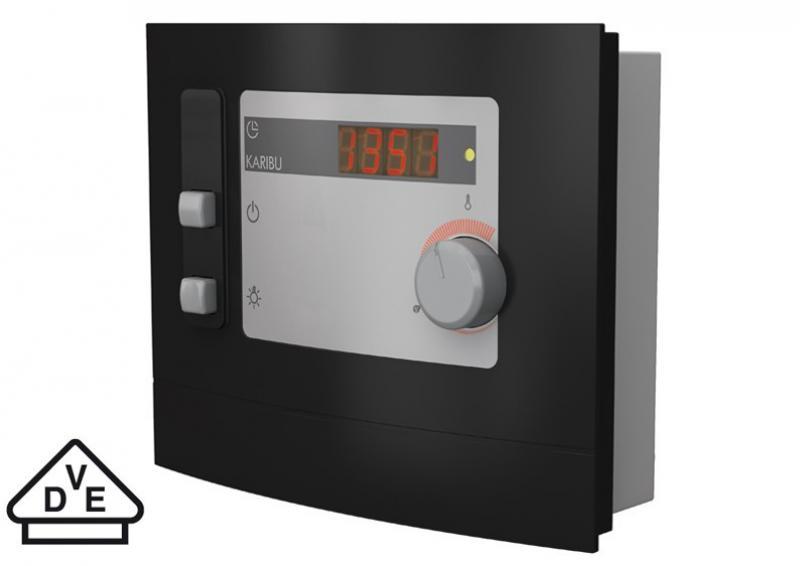 Karibu Energiesparsauna Lembin (Eckeinstieg) 68 mm inkl. Ofen 3,6 kW ext. Steuerung