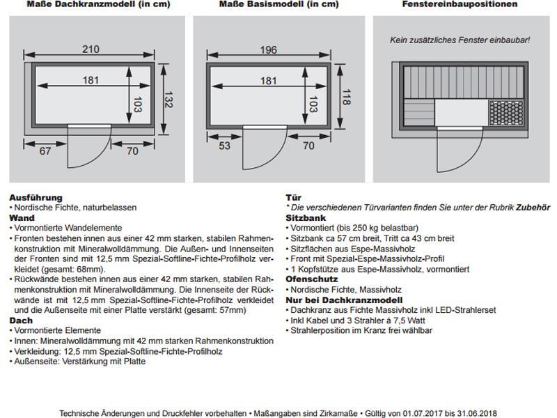 Karibu System Sauna Variado (Fronteinstieg) 68 mm mit Dachkranz inkl. Ofen 9 kW integr. Steuerung - mit Energiespartür