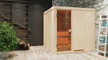 Karibu Systembau Sauna Halsa Classic (Fronteinstieg)  68 mm inkl. Ofen + ext. Strg. und Zubehör