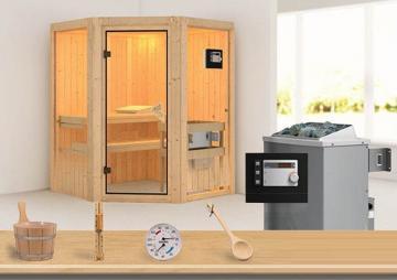 Sonderangebot: Karibu System Sauna Aktionsset 1 inkl. Ofen 9 kW Bio-Kombi