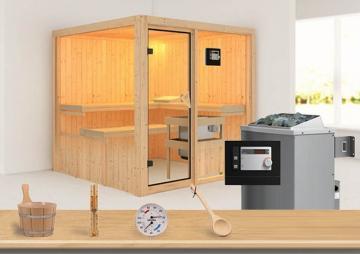 Sonderangebot: Karibu System Sauna Aktionsset 4 inkl. Ofen 9 kW  mit ext. Steuerung Modern