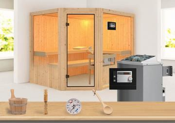 Sonderangebot: Karibu System Sauna Aktionsset 5 inkl. Ofen 9 kW  mit ext. Steuerung Modern