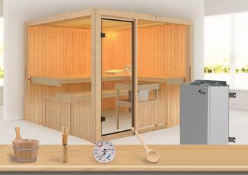 Sonderangebot: Karibu System Sauna Aktionsset 6 inkl. Ofen 9 kW  mit int. Steuerung