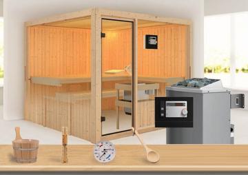 Sonderangebot: Karibu System Sauna Aktionsset 6 inkl. Ofen 9 kW  mit ext. Steuerung Modern