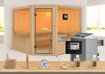 Sonderangebot: Karibu System Sauna Aktionsset 7 inkl. Ofen 9 kW  mit ext. Steuerung Modern