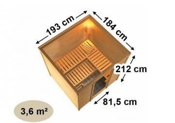 Karibu Heimsauna Mojave (Fronteinstieg)   Ofen 9 kW Bio externe Strg easy mit Dachkranz 40 mm Massivholzsauna