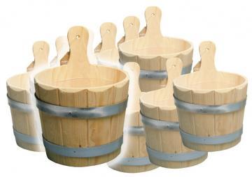 10er Set Sauna Kübel für Aufguss 3 Liter- Holzkübel