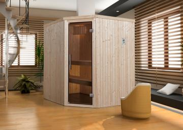 WEKA Heimsauna Elementbau Sauna KIRUNA 2 Glastüre 230V 4,5 kW Bio