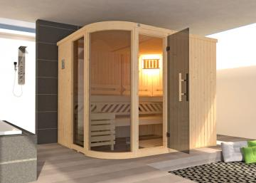 WEKA Heimsauna Design-Sauna SARA 2 Biokombi-Ofen-Set