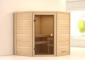 Woodfeeling 38 mm Massiv Sauna Franka Satiniert (Eckeinstieg)