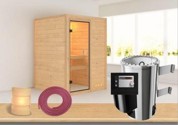 Sauna-Spar-Set: Karibu Scandic Sauna 38 mm Massiv Vaasa 1 inkl. 3,6 KW Ofen int. Strg. und Zubehör - Selbstbausatz