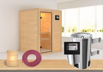 Sauna-Spar-Set: Karibu Scandic Sauna 38 mm Massiv Vaasa 1 inkl. 3,6 KW Ofen ext. Strg. und Zubehör - Selbstbausatz